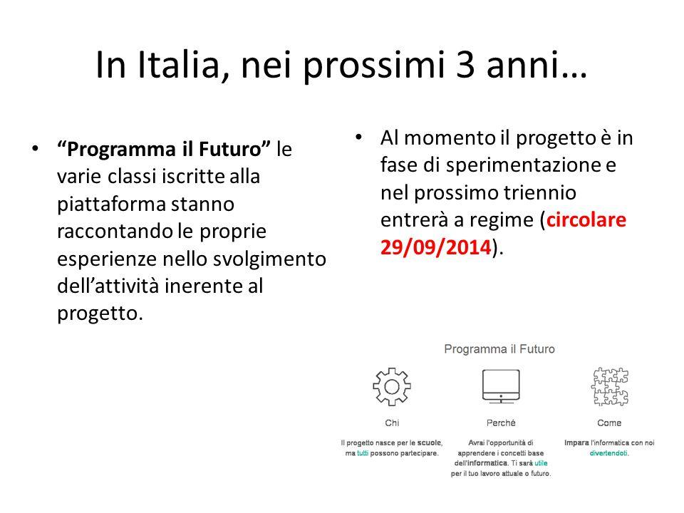 """In Italia, nei prossimi 3 anni… """"Programma il Futuro"""" le varie classi iscritte alla piattaforma stanno raccontando le proprie esperienze nello svolgim"""