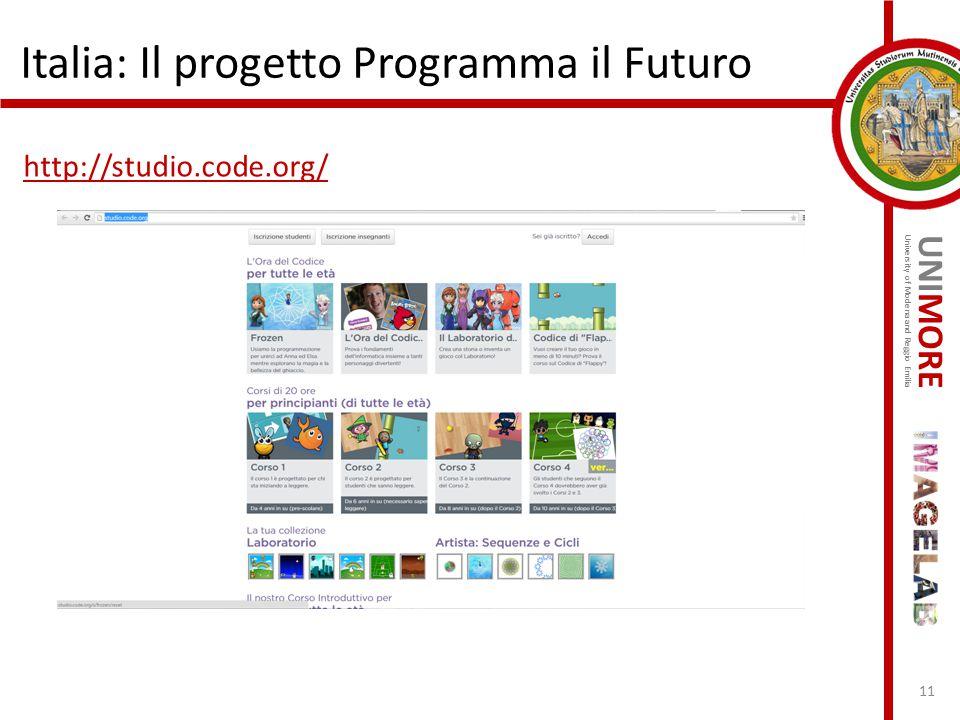 UNIMORE University of Modena and Reggio Emilia Italia: Il progetto Programma il Futuro http://studio.code.org/ 11