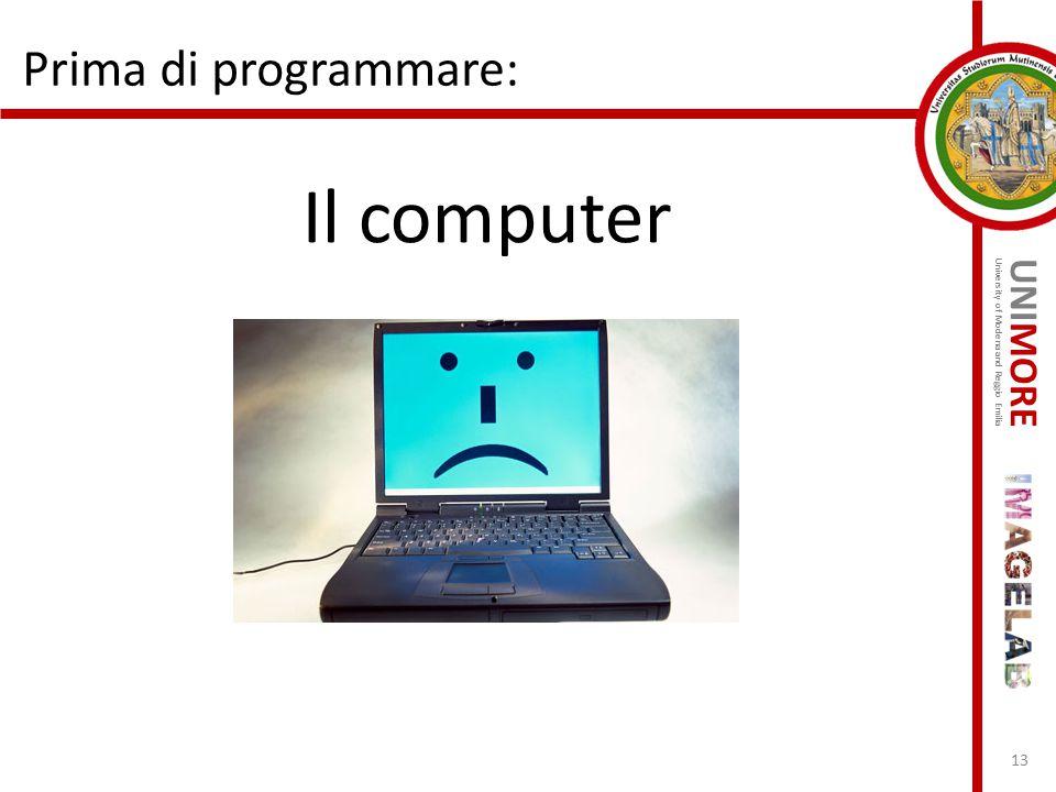 UNIMORE University of Modena and Reggio Emilia Prima di programmare: Il computer 13