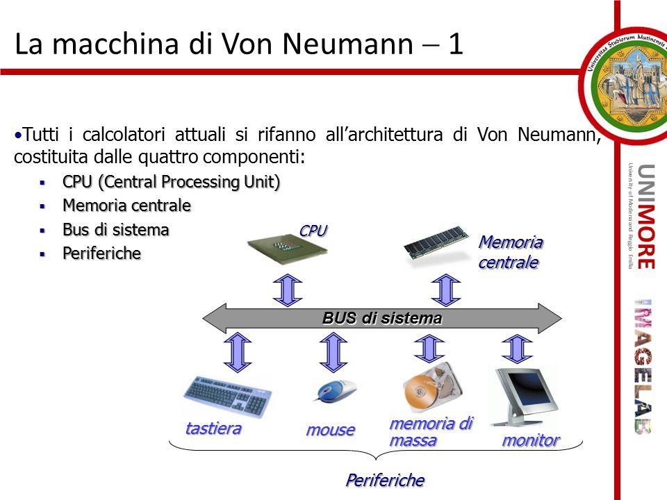 UNIMORE University of Modena and Reggio Emilia La macchina di Von Neumann  1 Tutti i calcolatori attuali si rifanno all'architettura di Von Neumann,