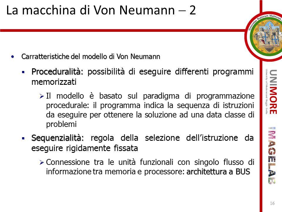 UNIMORE University of Modena and Reggio Emilia La macchina di Von Neumann  2 16 Carratteristiche del modello di Von NeumannCarratteristiche del model