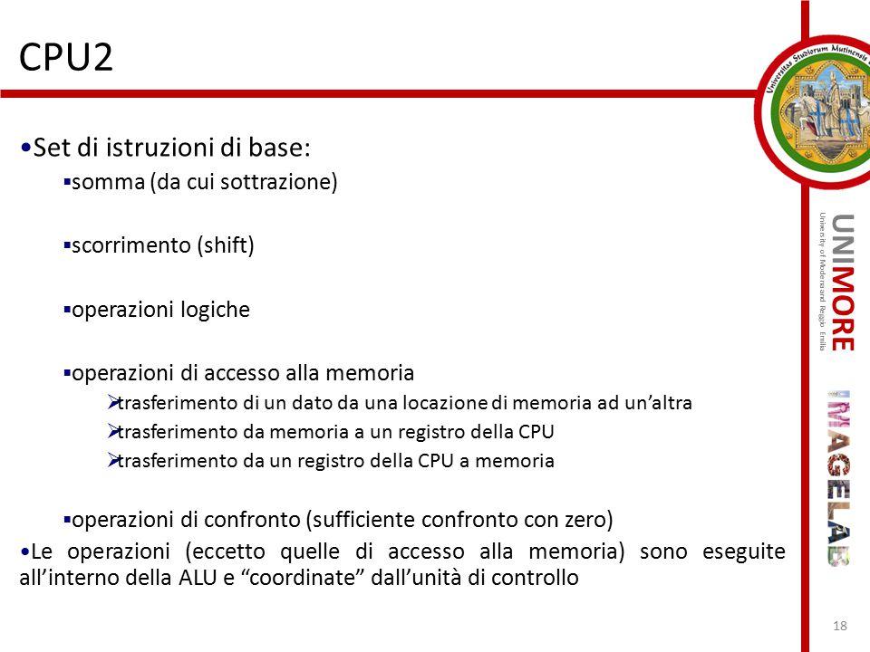 UNIMORE University of Modena and Reggio Emilia CPU2 18 Set di istruzioni di base:  somma (da cui sottrazione)  scorrimento (shift)  operazioni logi