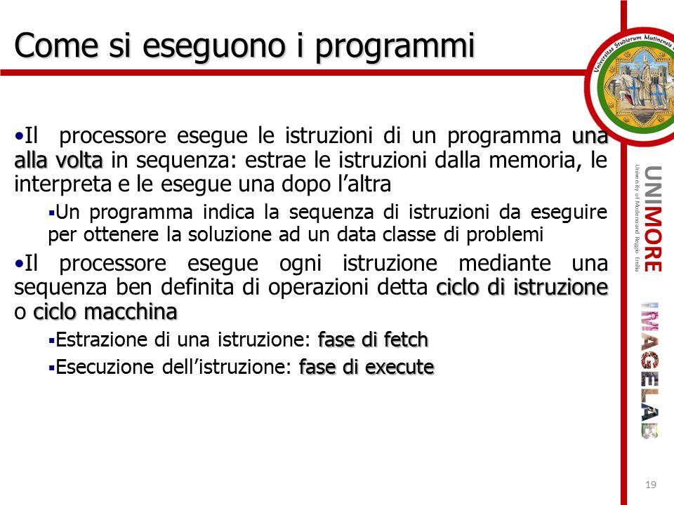 UNIMORE University of Modena and Reggio Emilia una alla voltaIl processore esegue le istruzioni di un programma una alla volta in sequenza: estrae le