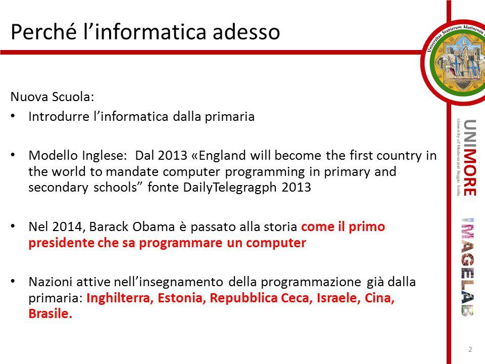 UNIMORE University of Modena and Reggio Emilia Perché l'informatica adesso Nuova Scuola: Introdurre l'informatica dalla primaria Modello Inglese: Dal