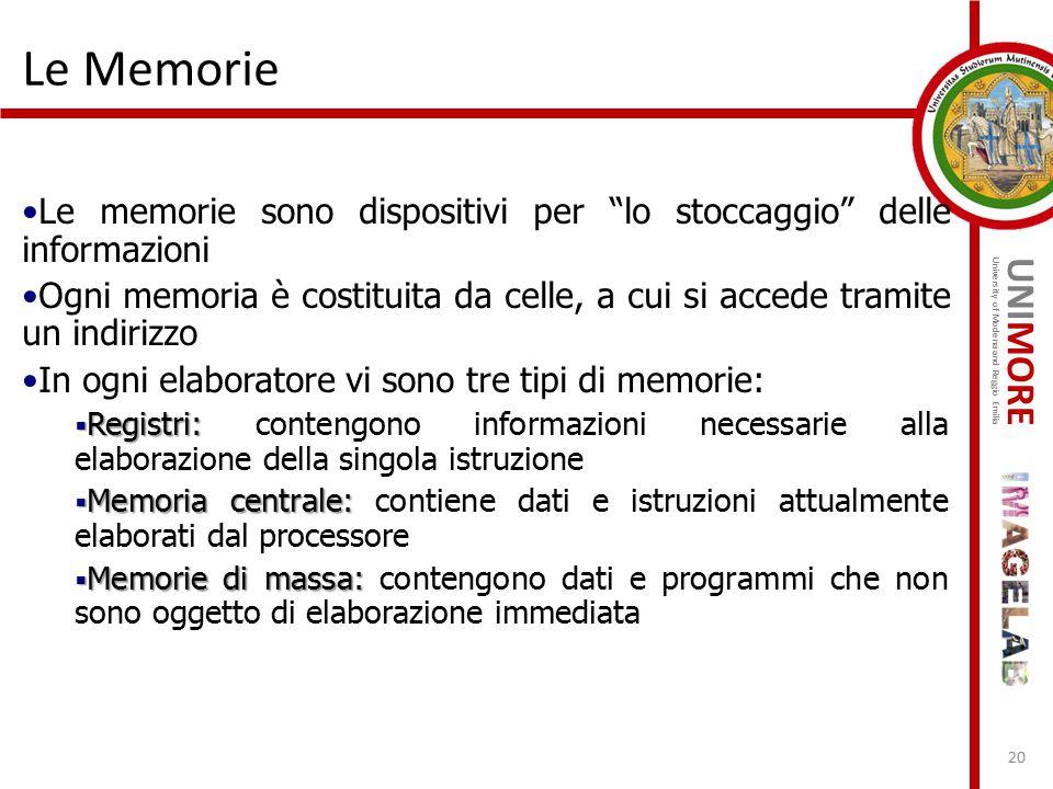 """UNIMORE University of Modena and Reggio Emilia Le Memorie Le memorie sono dispositivi per """"lo stoccaggio"""" delle informazioni Ogni memoria è costituita"""