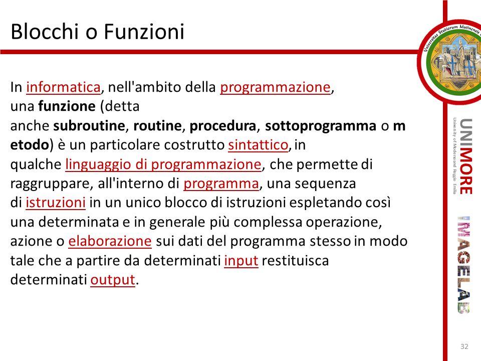 UNIMORE University of Modena and Reggio Emilia Blocchi o Funzioni In informatica, nell'ambito della programmazione, una funzione (detta anche subrouti