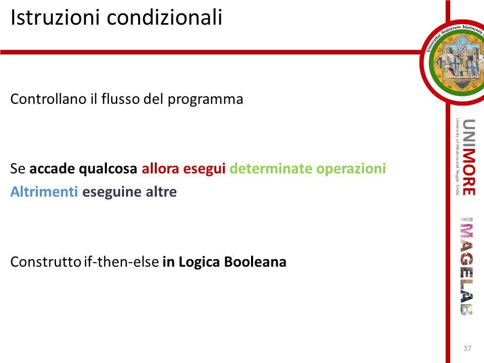 UNIMORE University of Modena and Reggio Emilia Istruzioni condizionali Controllano il flusso del programma Se accade qualcosa allora esegui determinat