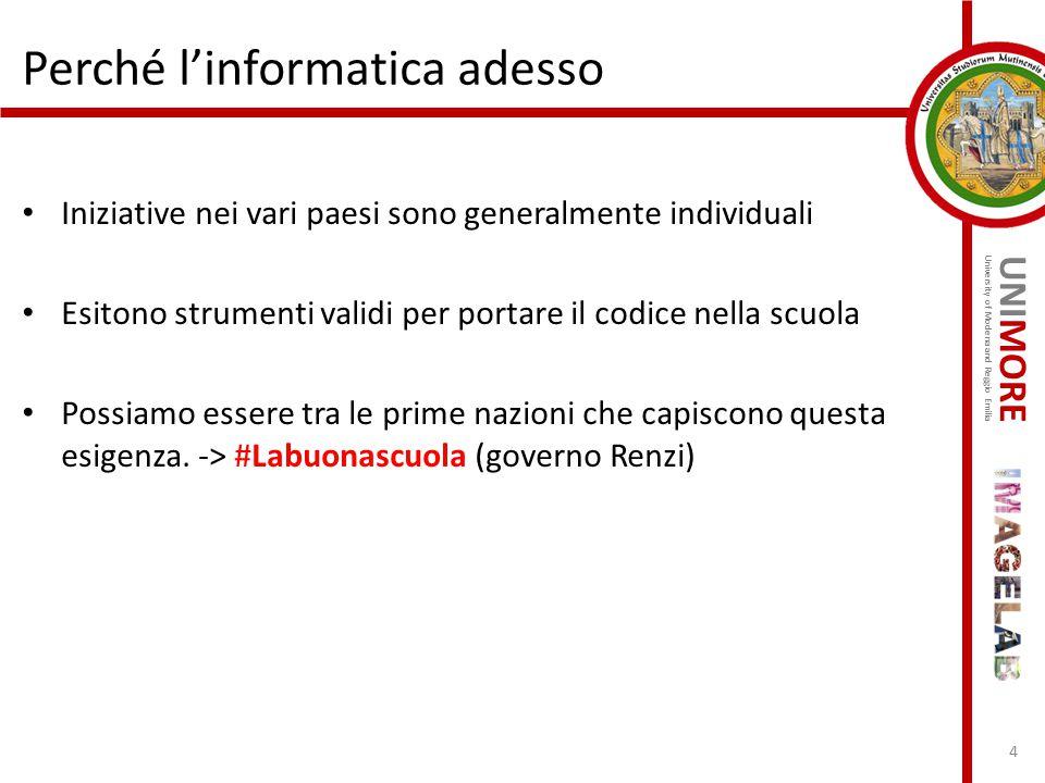 UNIMORE University of Modena and Reggio Emilia Iniziative nei vari paesi sono generalmente individuali Esitono strumenti validi per portare il codice