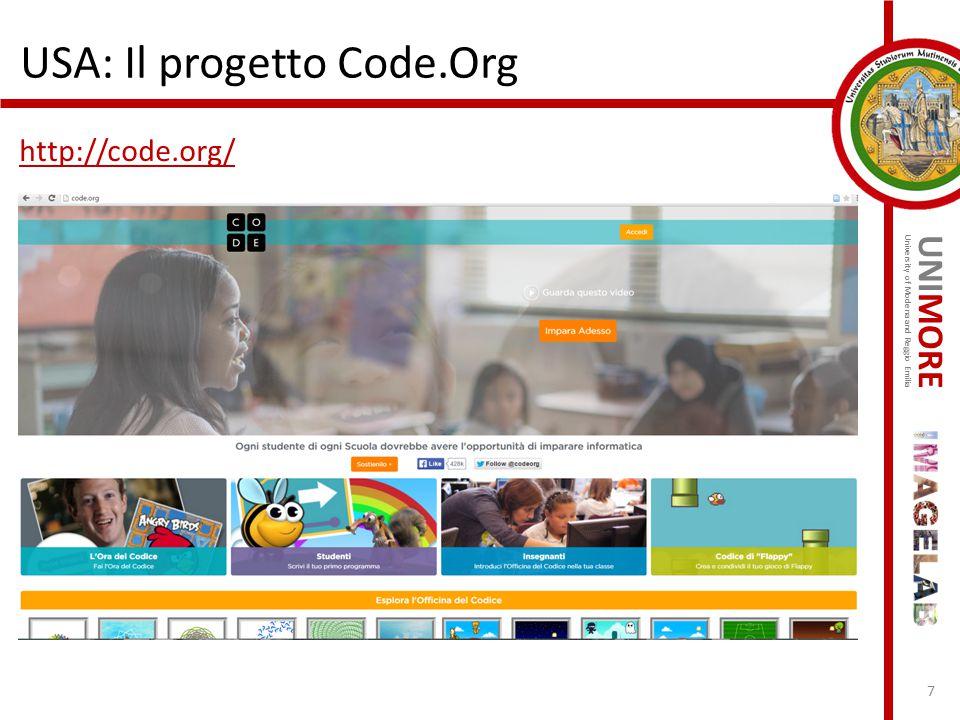 UNIMORE University of Modena and Reggio Emilia USA: Il progetto Code.Org http://code.org/ 7