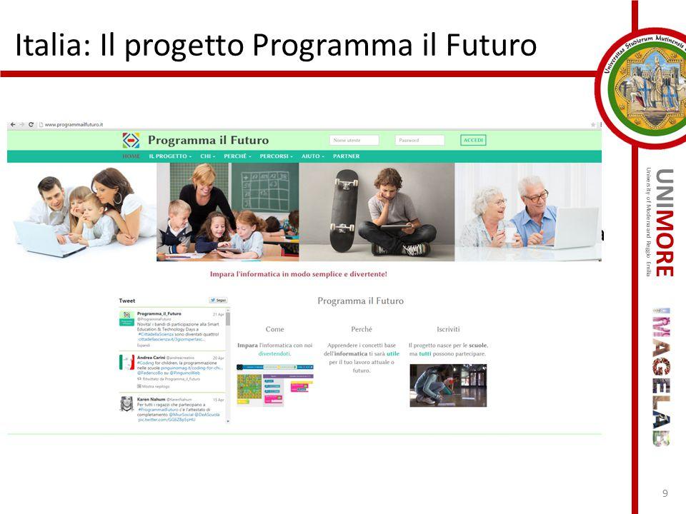 UNIMORE University of Modena and Reggio Emilia Italia: Il progetto Programma il Futuro http://www.programmailfuturo.it/ Il MIUR, in collaborazione con
