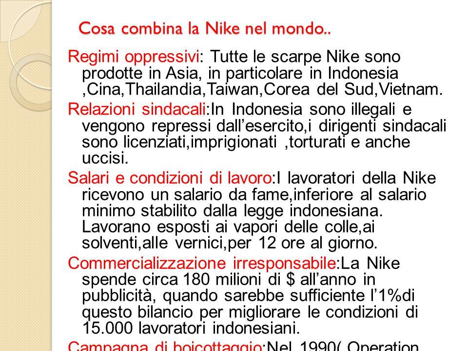 Cosa combina la Nike nel mondo.. Regimi oppressivi: Tutte le scarpe Nike sono prodotte in Asia, in particolare in Indonesia,Cina,Thailandia,Taiwan,Cor