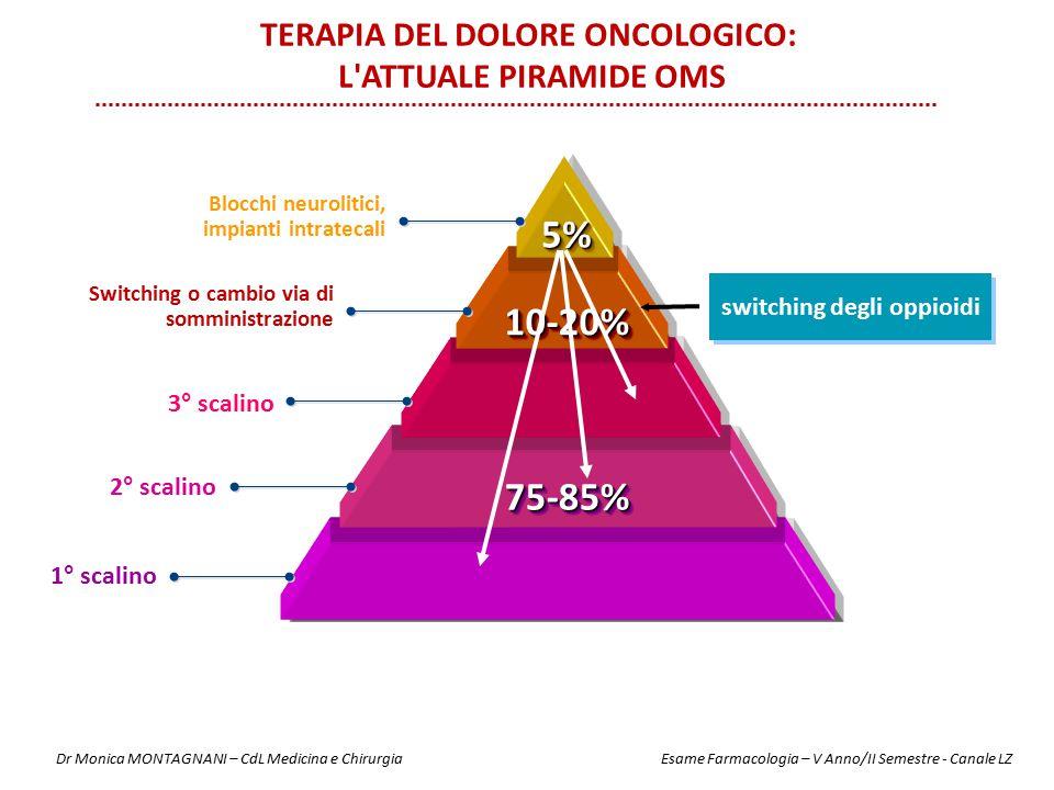 5%5% 10-20%10-20% 75-85%75-85% Blocchi neurolitici, impianti intratecali 3° scalino 2° scalino 1° scalino Switching o cambio via di somministrazione s