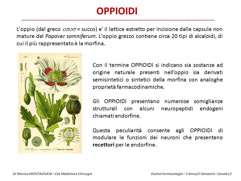 OPPIOIDI Con il termine OPPIOIDI si indicano sia sostanze ad origine naturale presenti nell'oppio sia derivati semisintetici o sintetici della morfina