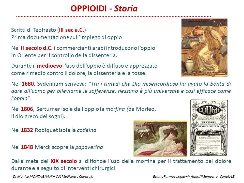 OPPIOIDI - Storia Scritti di Teofrasto (III sec a.C.) – Prima documentazione sull'impiego di oppio Nel II secolo d.C. i commercianti arabi introducono