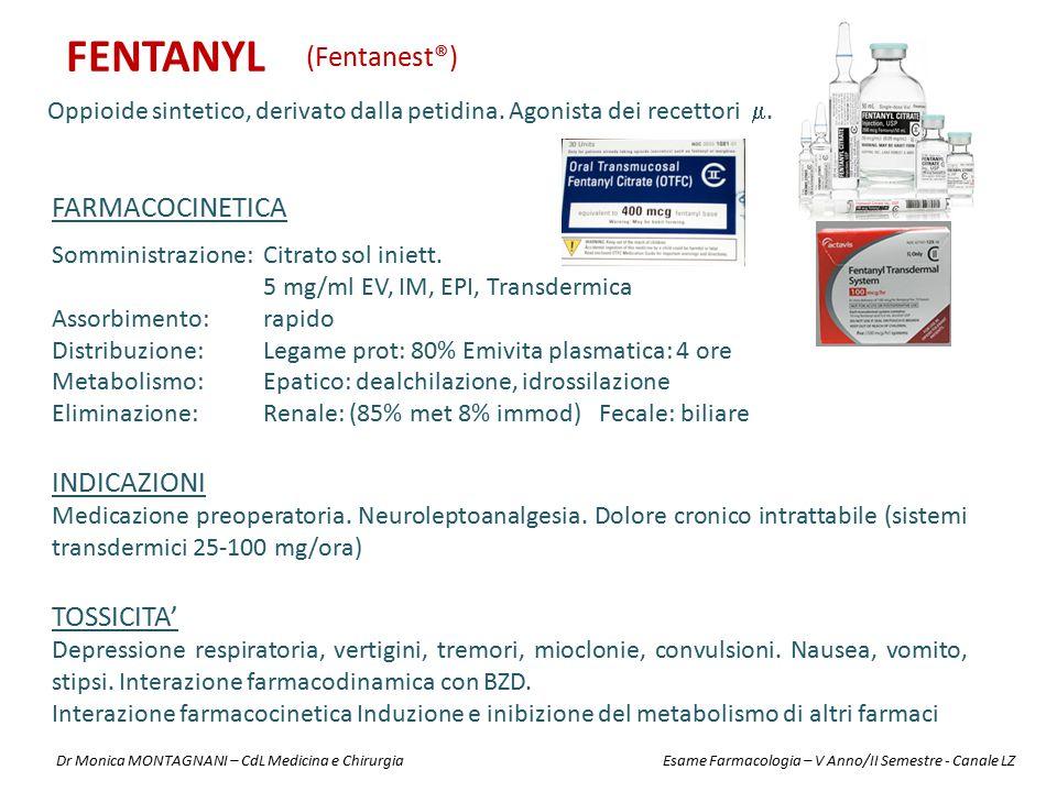 FENTANYL Oppioide sintetico, derivato dalla petidina. Agonista dei recettori . (Fentanest®) INDICAZIONI Medicazione preoperatoria. Neuroleptoanalgesi