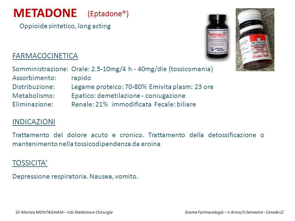 METADONE Oppioide sintetico, long acting (Eptadone®) INDICAZIONI Trattamento del dolore acuto e cronico. Trattamento della detossificazione o mantenim