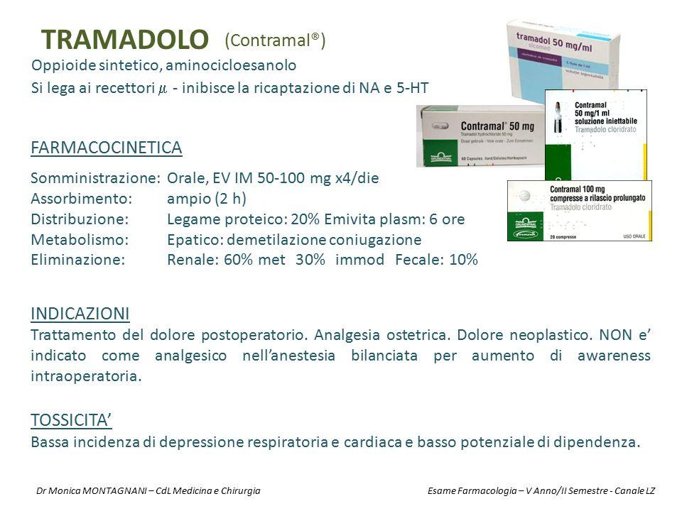 TRAMADOLO Oppioide sintetico, aminocicloesanolo (Contramal®) INDICAZIONI Trattamento del dolore postoperatorio. Analgesia ostetrica. Dolore neoplastic