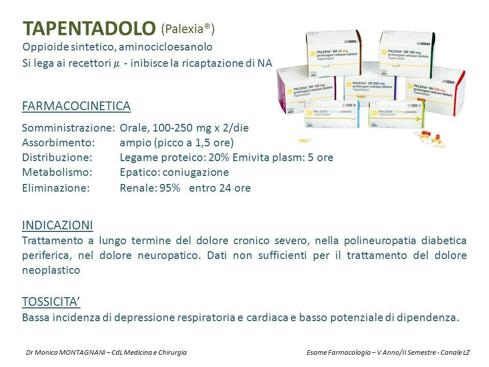 TAPENTADOLO Oppioide sintetico, aminocicloesanolo (Palexia®) INDICAZIONI Trattamento a lungo termine del dolore cronico severo, nella polineuropatia d