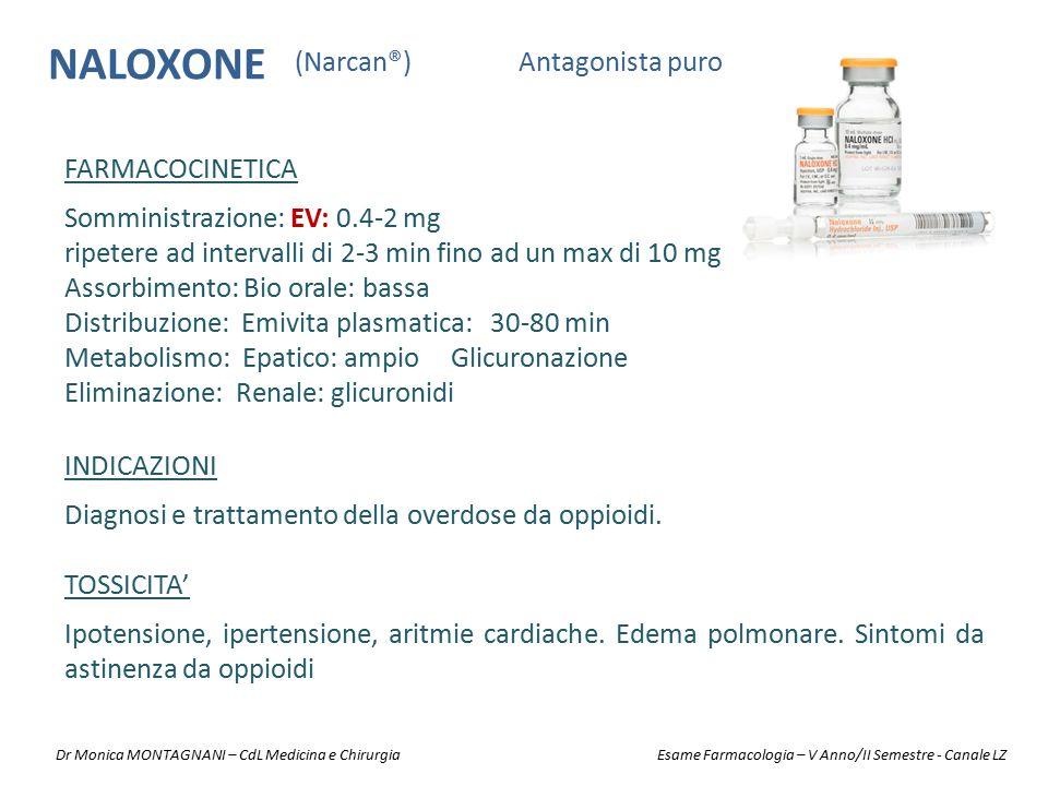 NALOXONE Antagonista puro(Narcan®) INDICAZIONI Diagnosi e trattamento della overdose da oppioidi. TOSSICITA' Ipotensione, ipertensione, aritmie cardia