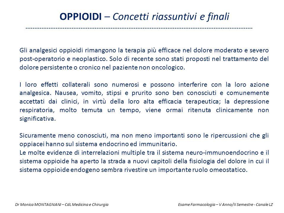 Gli analgesici oppioidi rimangono la terapia più efficace nel dolore moderato e severo post-operatorio e neoplastico. Solo di recente sono stati propo
