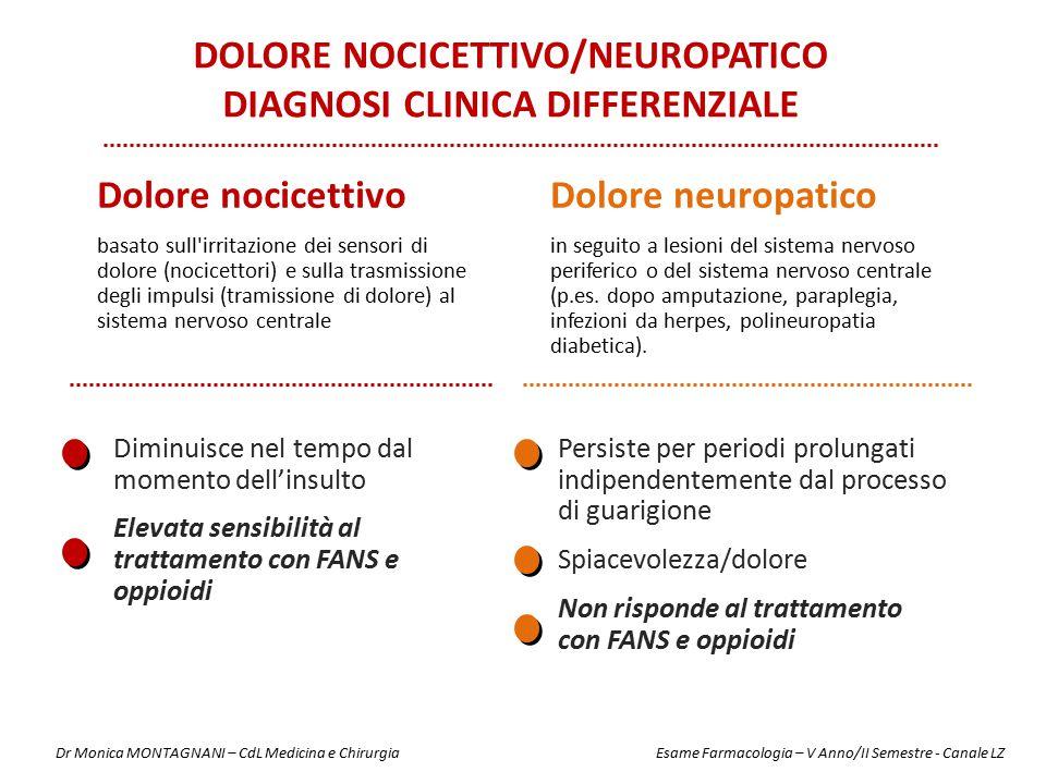 DOLORE NOCICETTIVO/NEUROPATICO DIAGNOSI CLINICA DIFFERENZIALE Dolore nocicettivo basato sull'irritazione dei sensori di dolore (nocicettori) e sulla t