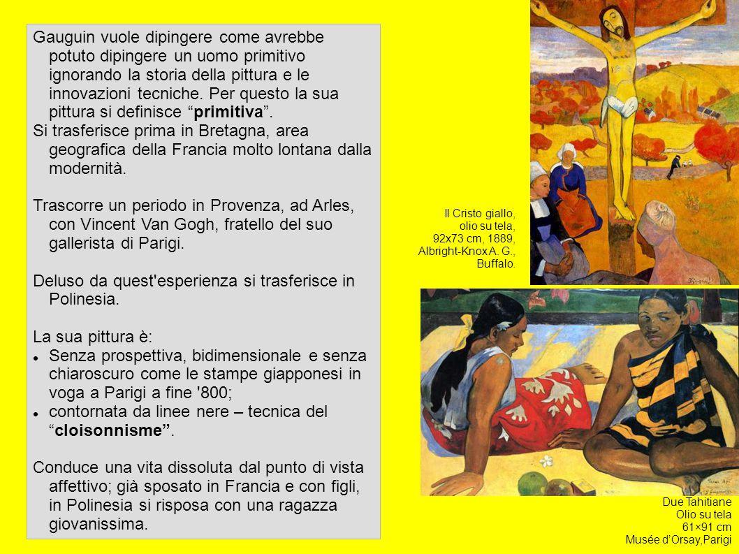 Gauguin vuole dipingere come avrebbe potuto dipingere un uomo primitivo ignorando la storia della pittura e le innovazioni tecniche. Per questo la sua