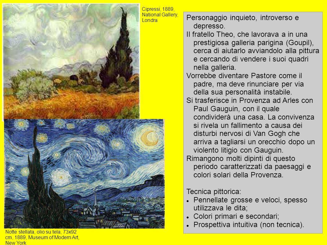 La camera di Vincent ad Arles, olio su tela, 72x90cm, 1888, Van Gogh Museum, Amsterdam La casa gialla, olio su tela, 76x94 cm, 1888, Van Gogh Museum, Amsterdam Autoritratto con orecchio bendato, 60x49 cm, 1889, Courtauld Institute Galleries, Londra Girasoli (Van Gogh), olio su tela, 92x73 cm, 1888, Neue Pinakothek, Münich Ritratto del dottor Gachet, olio su tela, 68×57 cm, 1890, Collezione privata Terrazza del caffè Data:1888 Tecnica: olio su tela Dimensioni: 81×65,5 cm Ubicazione:Museo Kröller-Müller, Otterlo