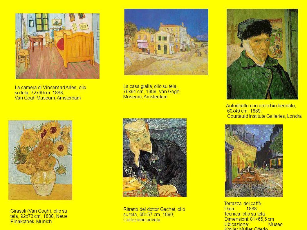 La camera di Vincent ad Arles, olio su tela, 72x90cm, 1888, Van Gogh Museum, Amsterdam La casa gialla, olio su tela, 76x94 cm, 1888, Van Gogh Museum,