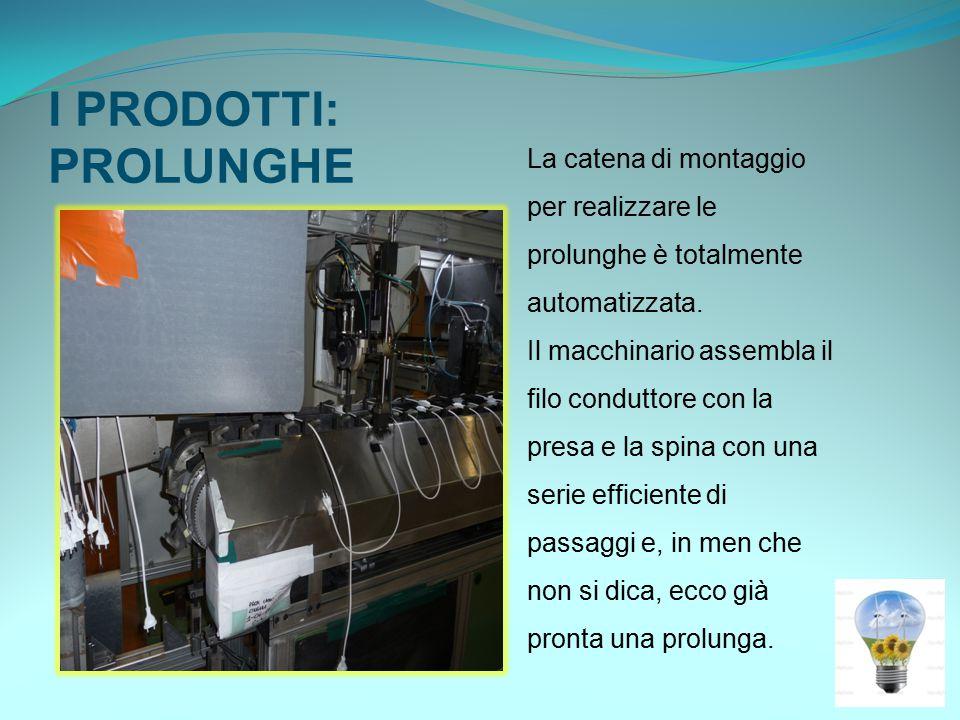 I PRODOTTI: PROLUNGHE La catena di montaggio per realizzare le prolunghe è totalmente automatizzata.