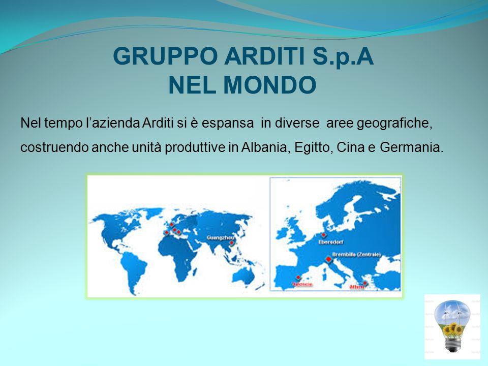 GRUPPO ARDITI S.p.A NEL MONDO Nel tempo l'azienda Arditi si è espansa in diverse aree geografiche, costruendo anche unità produttive in Albania, Egitto, Cina e Germania.