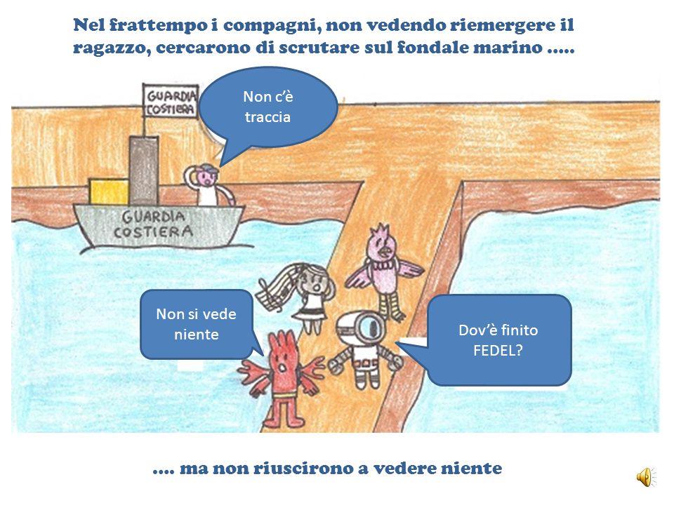 Nel frattempo i compagni, non vedendo riemergere il ragazzo, cercarono di scrutare sul fondale marino …..