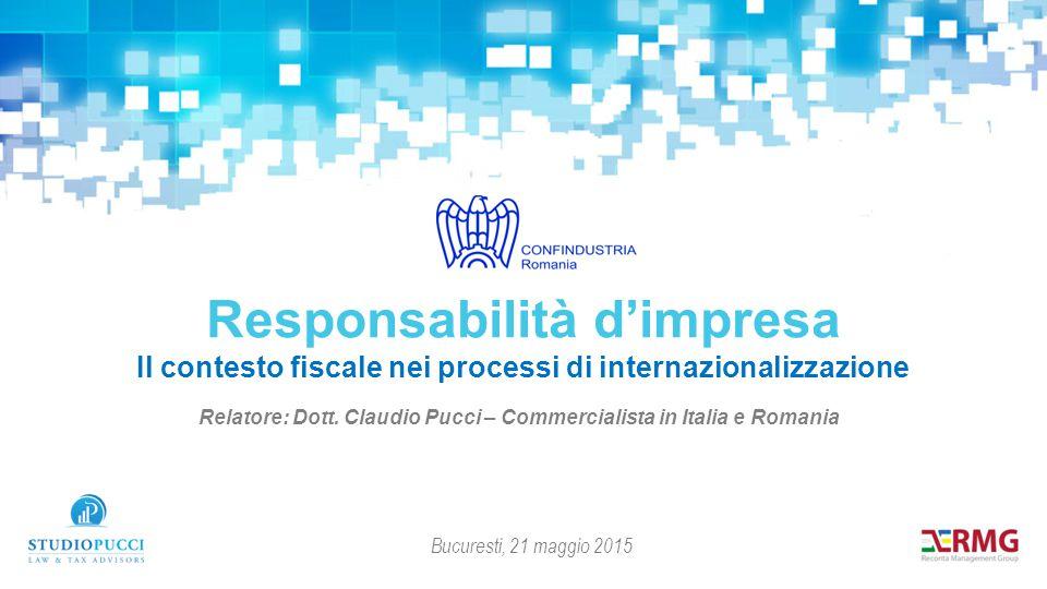 Relatore: Dott. Claudio Pucci – Commercialista in Italia e Romania Responsabilità d'impresa Il contesto fiscale nei processi di internazionalizzazione