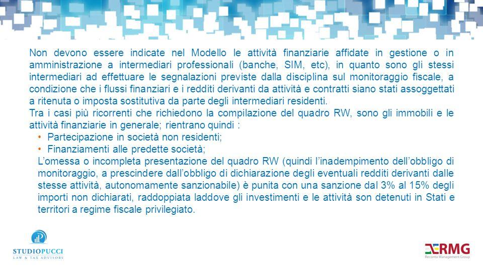 Non devono essere indicate nel Modello le attività finanziarie affidate in gestione o in amministrazione a intermediari professionali (banche, SIM, et