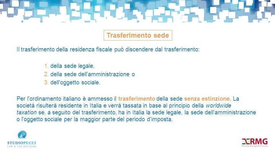 Il trasferimento della residenza fiscale può discendere dal trasferimento: 1.