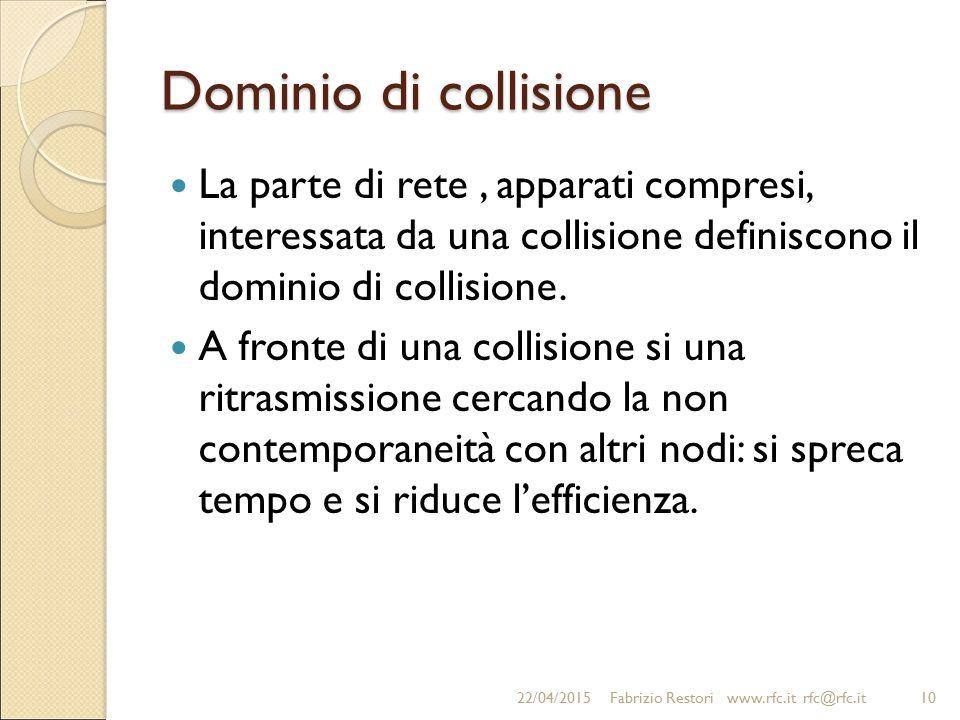 Dominio di collisione La parte di rete, apparati compresi, interessata da una collisione definiscono il dominio di collisione. A fronte di una collisi