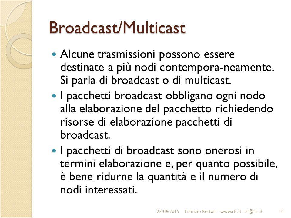 Broadcast/Multicast Alcune trasmissioni possono essere destinate a più nodi contempora-neamente. Si parla di broadcast o di multicast. I pacchetti bro