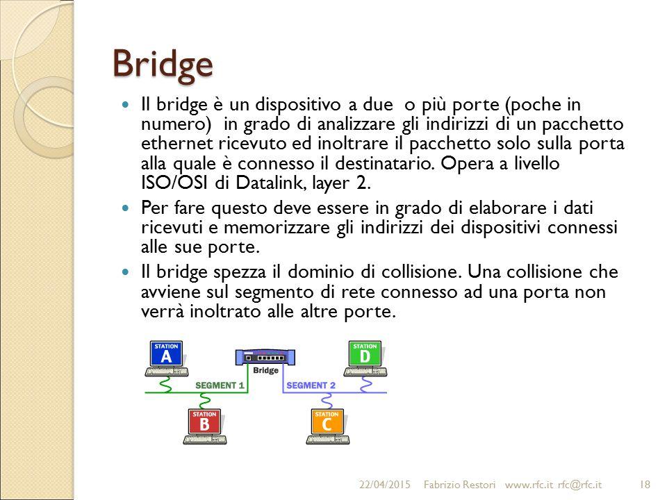 Bridge Il bridge è un dispositivo a due o più porte (poche in numero) in grado di analizzare gli indirizzi di un pacchetto ethernet ricevuto ed inoltr