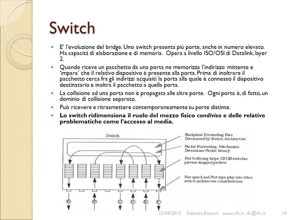 Switch E' l'evoluzione del bridge. Uno switch presenta più porte, anche in numero elevato. Ha capacità di elaborazione e di memoria. Opera a livello I