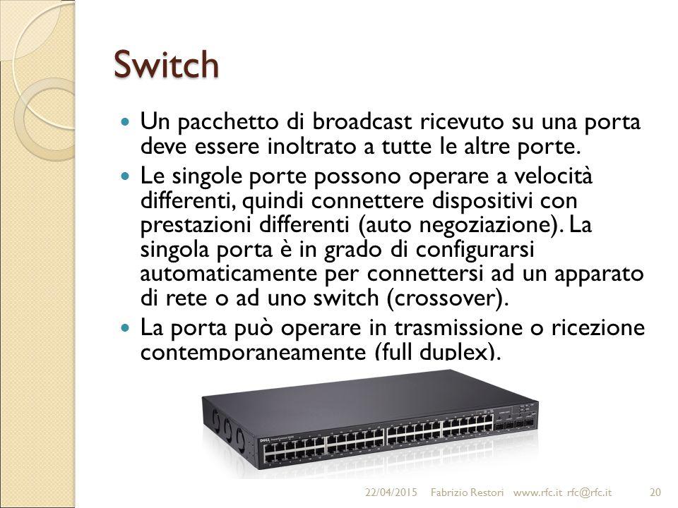 Switch Un pacchetto di broadcast ricevuto su una porta deve essere inoltrato a tutte le altre porte. Le singole porte possono operare a velocità diffe