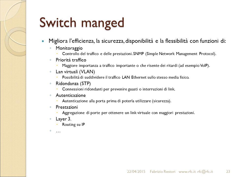 Switch manged Migliora l'efficienza, la sicurezza, disponibilità e la flessibilità con funzioni di: ◦ Monitoraggio  Controllo del traffico e delle pr