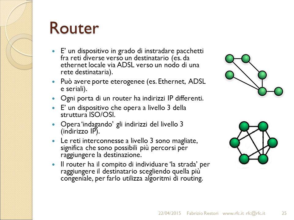 Router E' un dispositivo in grado di instradare pacchetti fra reti diverse verso un destinatario (es. da ethernet locale via ADSL verso un nodo di una