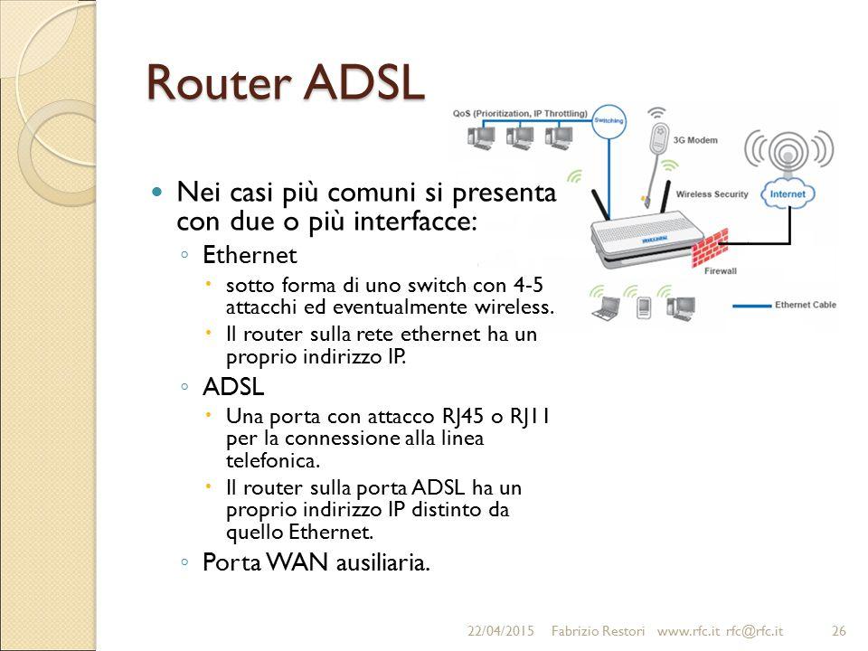Router ADSL Nei casi più comuni si presenta con due o più interfacce: ◦ Ethernet  sotto forma di uno switch con 4-5 attacchi ed eventualmente wireles