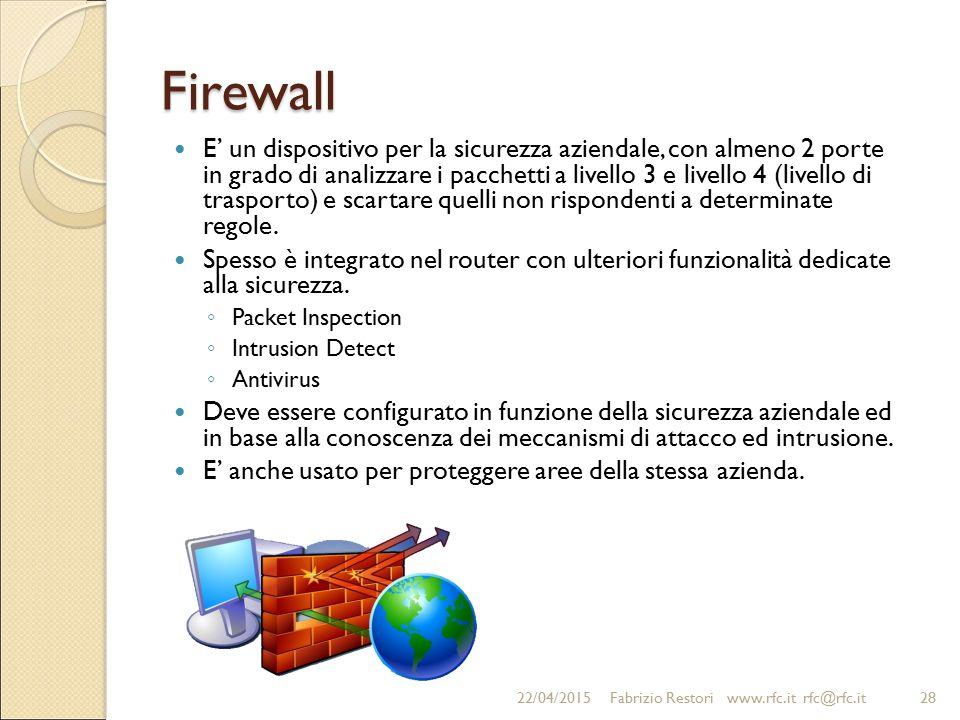 Firewall E' un dispositivo per la sicurezza aziendale, con almeno 2 porte in grado di analizzare i pacchetti a livello 3 e livello 4 (livello di trasp