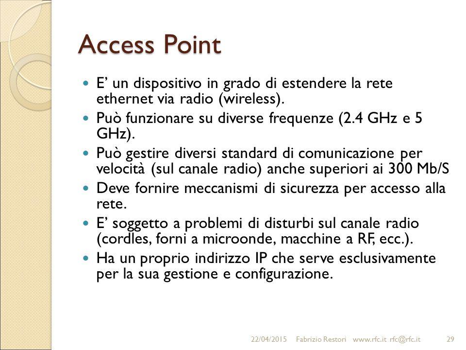 Access Point E' un dispositivo in grado di estendere la rete ethernet via radio (wireless). Può funzionare su diverse frequenze (2.4 GHz e 5 GHz). Può