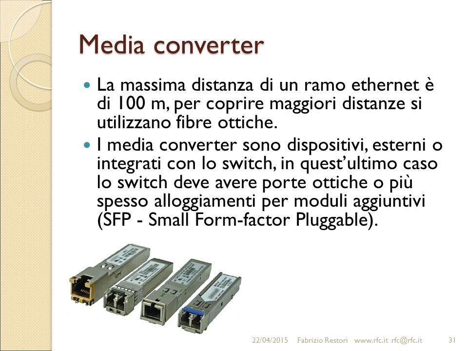Media converter La massima distanza di un ramo ethernet è di 100 m, per coprire maggiori distanze si utilizzano fibre ottiche. I media converter sono