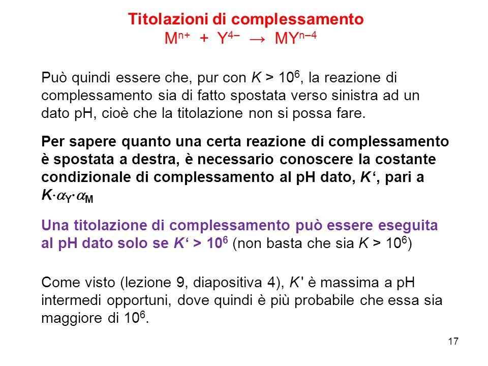 17 Può quindi essere che, pur con K > 10 6, la reazione di complessamento sia di fatto spostata verso sinistra ad un dato pH, cioè che la titolazione