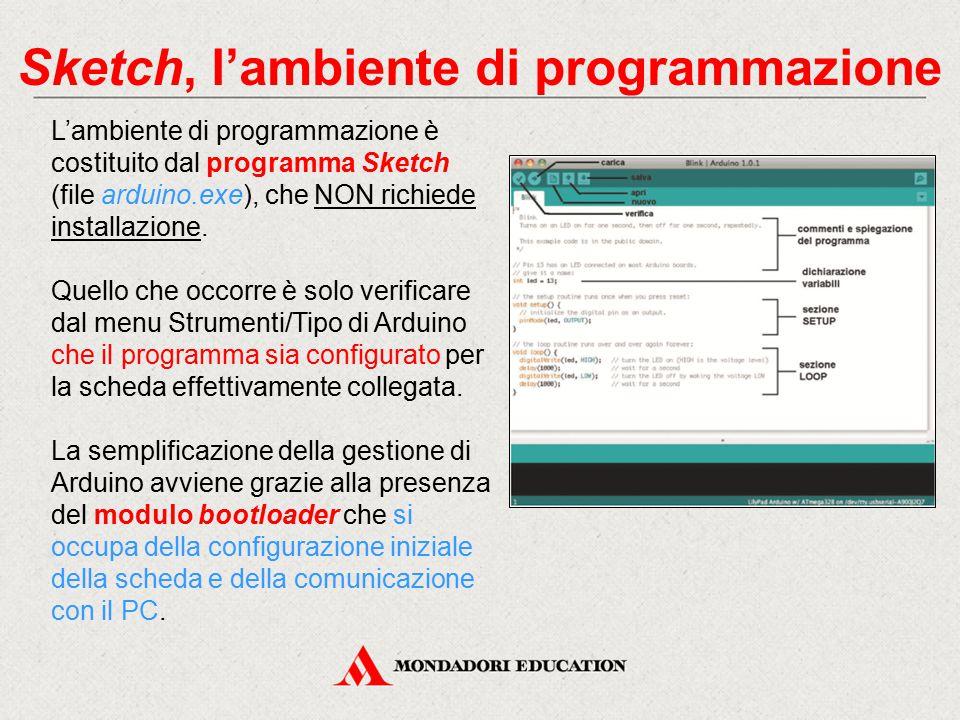 Sketch, l'ambiente di programmazione L'ambiente di programmazione è costituito dal programma Sketch (file arduino.exe), che NON richiede installazione