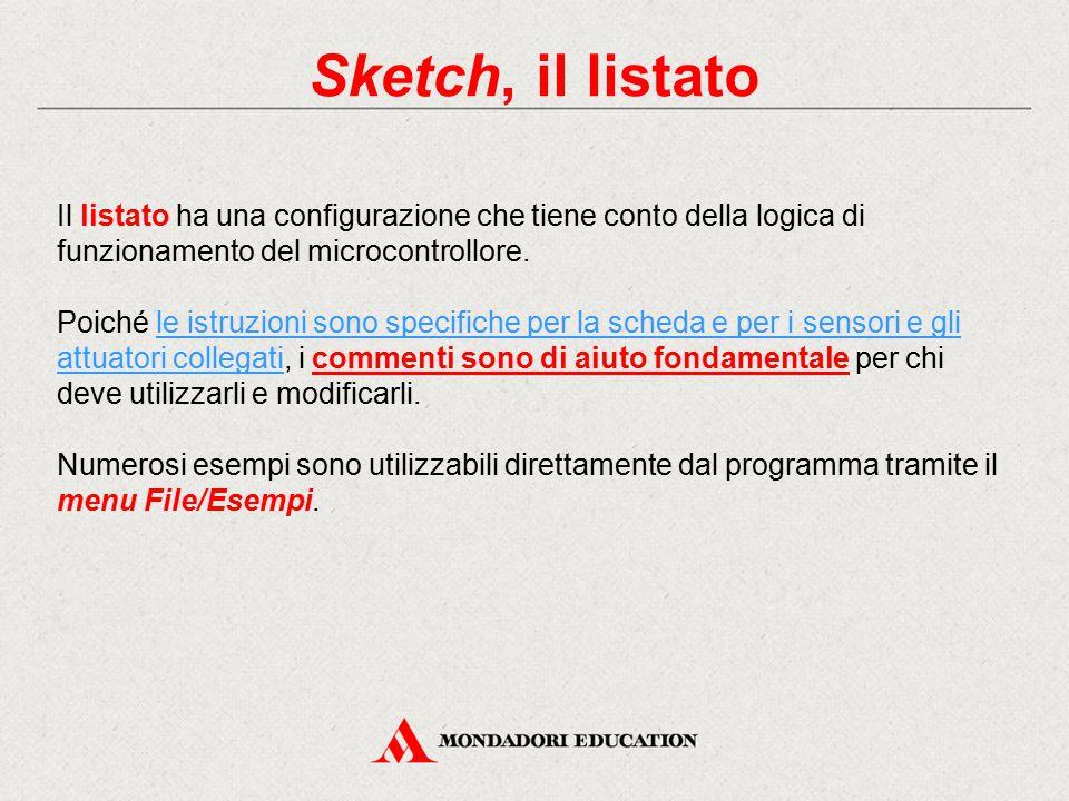 Sketch, il listato Il listato ha una configurazione che tiene conto della logica di funzionamento del microcontrollore. Poiché le istruzioni sono spec