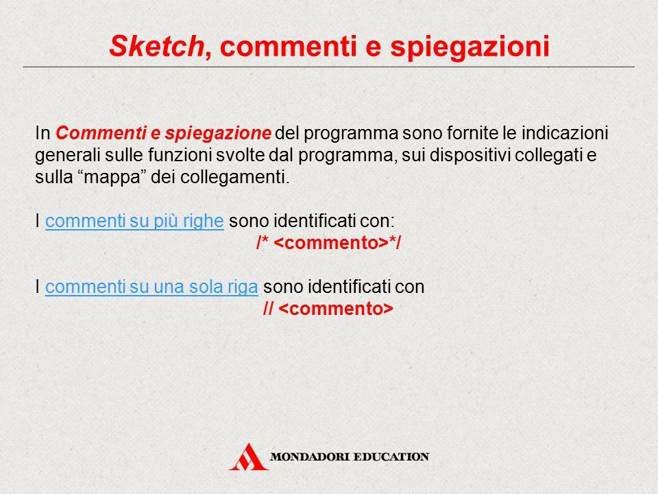 Sketch, commenti e spiegazioni In Commenti e spiegazione del programma sono fornite le indicazioni generali sulle funzioni svolte dal programma, sui d