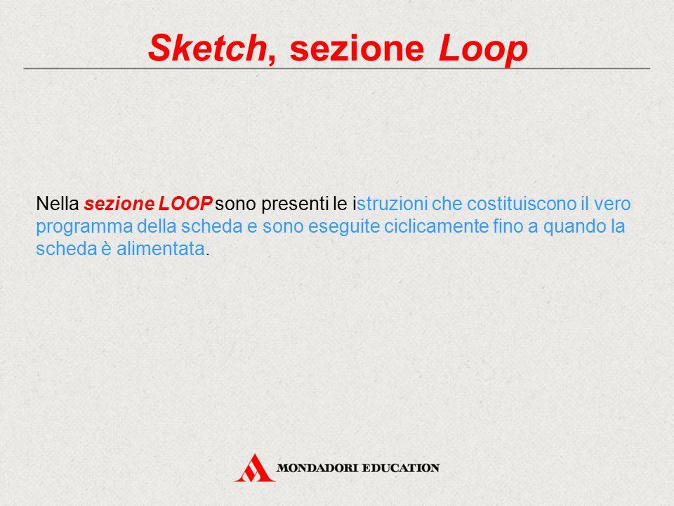 Sketch, sezione Loop Nella sezione LOOP sono presenti le istruzioni che costituiscono il vero programma della scheda e sono eseguite ciclicamente fino